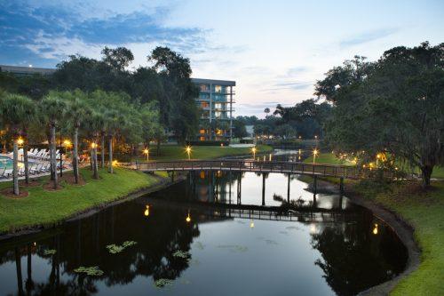 Sawgrass Marriott Golf Resort & Spa at dusk